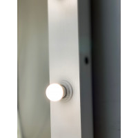 Гримерное зеркало с лампочками белое 180х80 из лдсп премиум